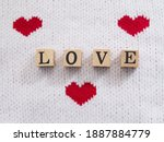 Love Word Text On Wooden Block...