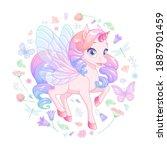 cute pretty pink baby unicorn... | Shutterstock .eps vector #1887901459