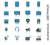 communication device flat with... | Shutterstock .eps vector #188794424