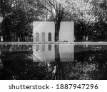 Reflection photography. Art Space or Museum in Parque Lincoln, Polanco, Mexico City, Mexico. 5 January 2021