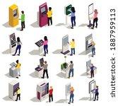 people using information board... | Shutterstock .eps vector #1887959113