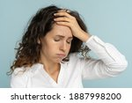 Small photo of Studio portrait of tired frustrated business woman or office worker sighing and wiping sweat of forehead, has emotional burnout, exhausted by long work during hot weather in the office, isolated.