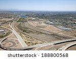 Tempe, Arizona skyline looking east along the Salt River - stock photo