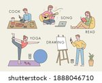 people who do hobbies. people... | Shutterstock .eps vector #1888046710