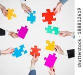 set puzzle pieces in people... | Shutterstock . vector #188812619