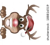 reindeer with christmas hat and ... | Shutterstock . vector #188816519