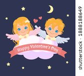 cute female and male angel in... | Shutterstock .eps vector #1888188649