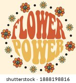 seventies retro flower power... | Shutterstock .eps vector #1888198816