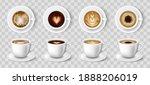 white cups of coffee. espresso... | Shutterstock .eps vector #1888206019