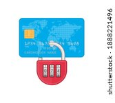 credit card with lock icon... | Shutterstock . vector #1888221496