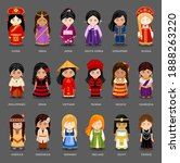 Cartoon Girls In Different...