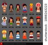 girls in national costumes. set ... | Shutterstock .eps vector #1888263223