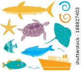 collection of sea animals... | Shutterstock .eps vector #188827403