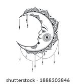 beautiful crescent moon with... | Shutterstock .eps vector #1888303846