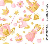 princess party items seamless...   Shutterstock .eps vector #1888317109