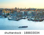Stock photo cityscape of amsterdam at colorful sunset aerial view 188833034