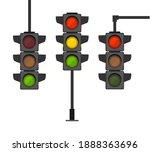 cartoon traffic light different ... | Shutterstock . vector #1888363696