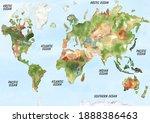 watercolor world map... | Shutterstock . vector #1888386463