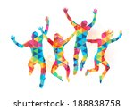 young people jumping in... | Shutterstock .eps vector #188838758