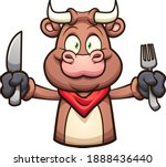 cartoon  bull with extended arm ... | Shutterstock .eps vector #1888436440