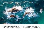 Aerial Look Of Rocks In Surf At ...