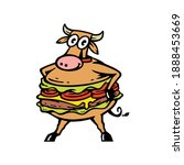 mascot cow with burger...   Shutterstock .eps vector #1888453669