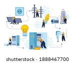 electricity and lighting flat... | Shutterstock .eps vector #1888467700