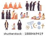 world religion flat icons set... | Shutterstock .eps vector #1888469419