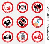 mouth cap mask warning and... | Shutterstock .eps vector #1888486210