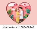 cute couple in love hugging... | Shutterstock .eps vector #1888488940