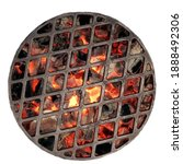 Small photo of Kettle Grill Pit With Flaming Charcoal. Top View Of BBQ Hot Kettle Grill With Cast Iron Grid, Isolated Background, Overhead View. Barbecue Kettle Grill On Summer Backyard Ready Grilling Cookout Food.