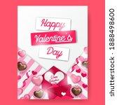 happy valentine's day poster...   Shutterstock .eps vector #1888498600