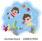 playing underwater | Shutterstock . vector #188851904