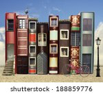 many books with windows doors... | Shutterstock . vector #188859776
