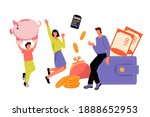family saving money and putting ... | Shutterstock .eps vector #1888652953
