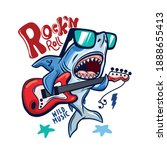 rock and roll.shark playing... | Shutterstock .eps vector #1888655413
