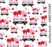 love truck pattern for wedding...   Shutterstock .eps vector #1888723489