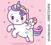 cute unicorn pegasus vector fly ... | Shutterstock .eps vector #1888752406