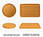wooden pizza and cutting boards ... | Shutterstock .eps vector #1888764856