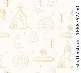 golden bride and groom faces ... | Shutterstock .eps vector #1888792750