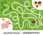 help the cute hungry pig find... | Shutterstock .eps vector #1888809940
