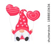 dwarf or gnome holds pink heart ...   Shutterstock .eps vector #1888810636