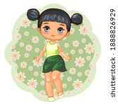 cute little girl in a skirt.... | Shutterstock .eps vector #1888826929