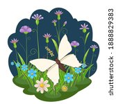 white butterfly on the... | Shutterstock . vector #1888829383