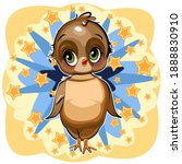 sparrow girl. funny chick. cute ... | Shutterstock .eps vector #1888830910