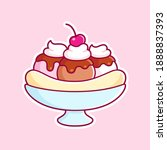 cartoon banana split on pink...   Shutterstock .eps vector #1888837393