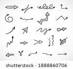 vector set of hand drawn arrows ... | Shutterstock .eps vector #1888860706