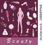 female cosmetic  beauty items | Shutterstock .eps vector #188889968