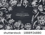 floral design with chalk... | Shutterstock .eps vector #1888926880