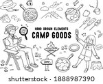 set of hand drawn camping...   Shutterstock .eps vector #1888987390